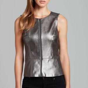 Trina Turk Tatyana leather peplum metallic top